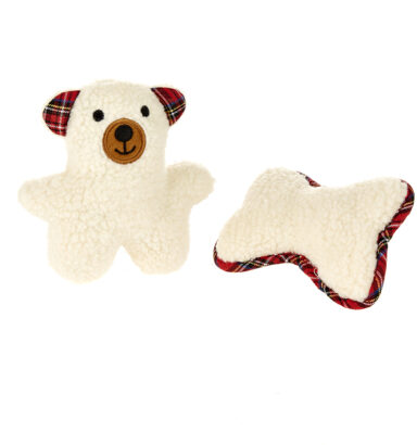 Softy Bear & Bone Dog Toy Twin Pack