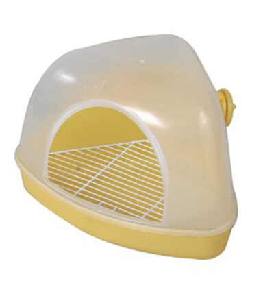 Hooded Corner Litter Tray Yellow