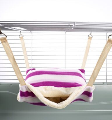 Fluffy Lined Hammock With Pouch: Pink Hoops