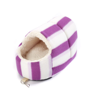 Snuggle Up Rat Slipper Toy Pink Hoops