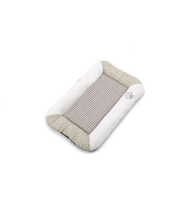 Stripey Flat Dog Bed - Natural