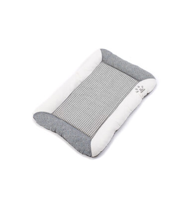 Stripey Flat Dog Bed - Grey