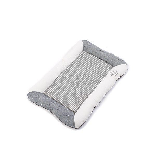 Stripey Flat Dog Bed - Grey