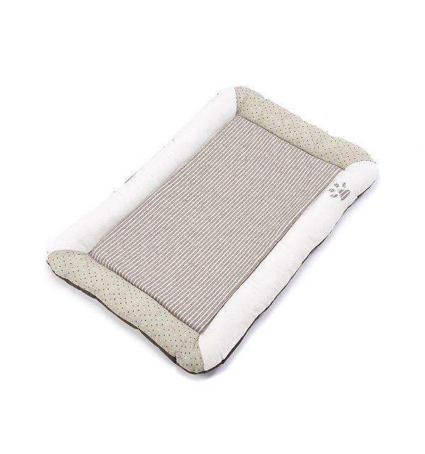 Stripey Flat Dog Bed - Natural
