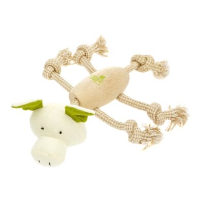 Earthy Pawz Wooden Rope Pig Toy