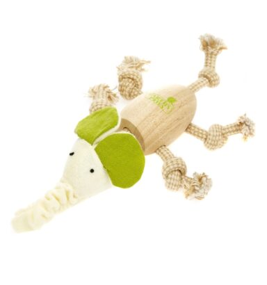 Earthy Pawz Wooden Rope Elephant Toy
