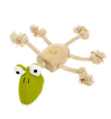 Earthy Pawz Wooden Rope Alligator Toy