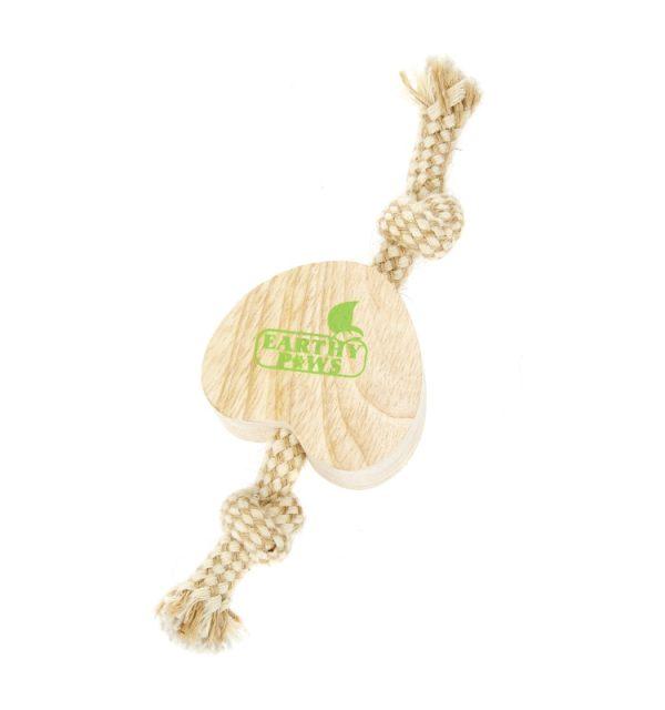 Earthy Pawz Wooden Rope Heart Toy