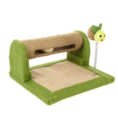 Earthy Pawz Jute Fabric Scratcher with Ball and Spring Toy