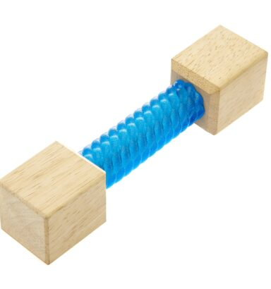 Earthy Pawz Wooden Square TPR Dumbbell Dog Toy - BLUE